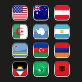 World Flags Icons Set. Name Country of Letter A Royalty Free Stock Image