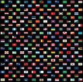 World flags isolated on black Stock Image