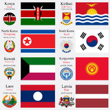 World flags and capitals set 12 Royalty Free Stock Images