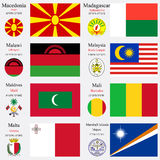 World flags and capitals set 14 Royalty Free Stock Photo
