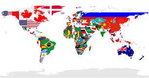 World Flags Map Royalty Free Stock Photos