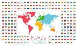 204 world flags with world map by continents vector illustration Royalty Free Stock Image
