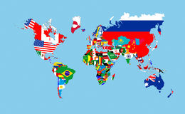 World flags map Royalty Free Stock Images