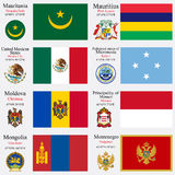 World flags and capitals set 15 Royalty Free Stock Images