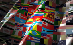 World flags on one colorful flag Royalty Free Stock Photos