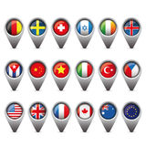 World flags pointer set Stock Photo