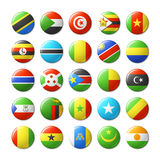 World flags round badges, magnets. Africa. Royalty Free Stock Images