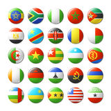 World flags round badges, magnets. Africa. Royalty Free Stock Image