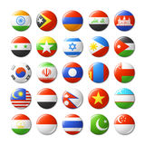 World flags round badges, magnets. Asia. Royalty Free Stock Images