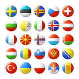 World flags round badges, magnets. Europe. Stock Photos