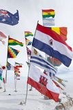 World flags at Salar de Uyuni (Salt Flat), Bolivia Royalty Free Stock Photos