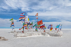 World Flags at Salar de Uyuni salt flat - Potosi Department, Bolivia Royalty Free Stock Image