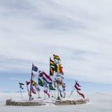 World flags at Salar de Uyuni (Salt Flat), Bolivia Stock Images