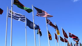 World flags-2. A selection of flags from different countries of the world stock footage