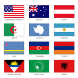 World Flags Set. Name Country of Letter A. Vector Royalty Free Stock Photos