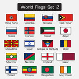 World flags set 2 . simple style and flat design . thick outline . Royalty Free Stock Photo