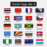 World flags set 3 . simple style and flat design . thick outline . Stock Photo