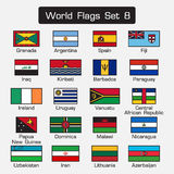 World flags set 8 . simple style and flat design . thick outline . Stock Photos