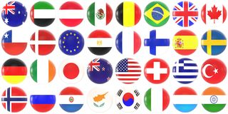 World flags - shiny buttons vector illustration