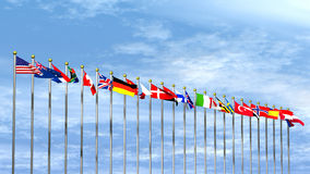 World Flags on Sky Background Stock Photography
