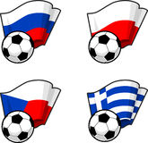 World flags and soccer ball Stock Image