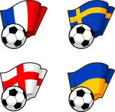 World flags and soccer ball Royalty Free Stock Photos