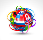 World flags sphere Stock Image