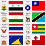 World flags and capitals set 24 Stock Image