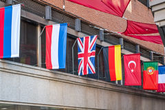 World flags. Variety of world flags on a building Royalty Free Stock Photos