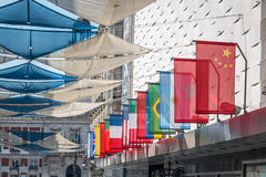 World flags. Variety of world flags on a building Royalty Free Stock Images
