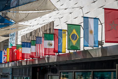 World flags. Variety of world flags on a building Royalty Free Stock Image