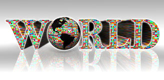 World flags word and earth globe Royalty Free Stock Images