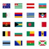 World flat flags icons set Stock Image