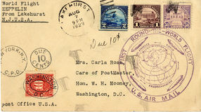 World flight. Envelope that traveled on the first round the world flight by the Graf Zeppelin Royalty Free Stock Images