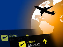 World Flight Means Worldly Globalization And Flights. World Flight Representing Break Air And Flights Stock Photography