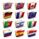 World folders icons 1. Set 1 of folders icons with world flags. Isolated raster version (contain the Clipping Path of all objects) There is in addition a vector