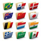 World folders icons 2. Set 2 of vector folders icons with world flags. Isolated raster version (contain the Clipping Path of all objects Royalty Free Stock Images