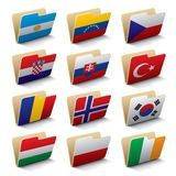 World folders icons 3. Set 3 of vector folders icons with world flags.  Isolated raster version (contain the Clipping Path of all objects Stock Image