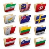 World folders icons 4. Set 4 of folders icons with world flags. Isolated raster version (contain the Clipping Path of all objects Stock Photos