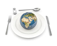 World food. 3D render of planet Earth served on plate, Earth map texture source: cinema4dtutorial.net Royalty Free Stock Image