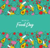 World Food Day background card in hand drawn style stock image