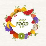 World Food Day card of flat fruit icons. World Food Day greeting card illustration for nutrition and healthy diet with colorful flat cartoon fruit icons stock illustration