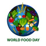 World Food Day. 16 October. Planet earth, fruits, vegetables, grains. Vector illustration on isolated background. World Food Day. 16 October. Planet earth Stock Illustration