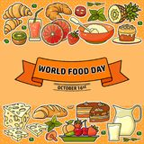 World Food Day. Vector Illustration of stylized meal icon. Royalty Free Stock Photos