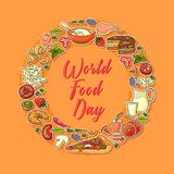 World Food Day. Vector Illustration of stylized meal icon. Suitable for greeting card, poster and banner stock illustration
