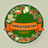World Food Day. Vector Illustration of stylized meal icon. Stock Images