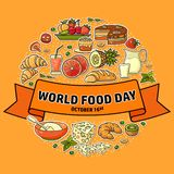 World Food Day. Vector Illustration of stylized meal icon. Suitable for greeting card, poster and banner royalty free illustration