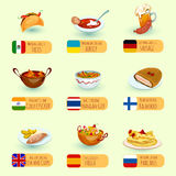World Food Set. World food international cuisine dishes decorative icons set with sausage fish and chips chicken curry isolated vector illustration Royalty Free Stock Photo