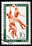 World Football Championship (Mexico City), World Football and Gymnastics Championship serie, circa 1970. MOSCOW, RUSSIA - FEBRUARY 20, 2019: A stamp printed in stock images
