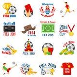 World football cup 2018: ball, russian folk art tradition elements, balalaika, nesting doll, football symbols. Welcome to Russia inscription football badges Stock Photo